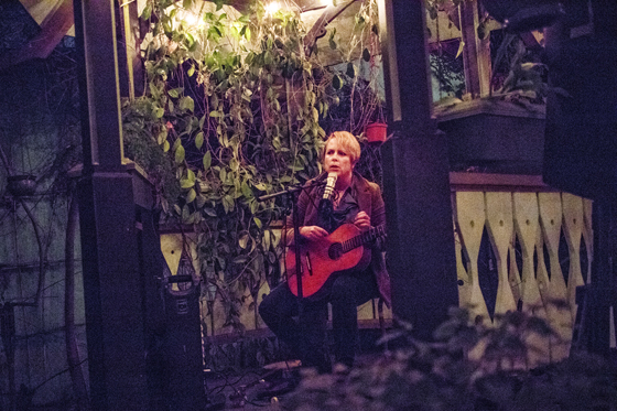 Kelly Marie Martin performing in the gazebo